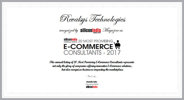 Revalsys Technologies recognized by Silicon India Magazine as one of the 20 most promising e-commerce consultants