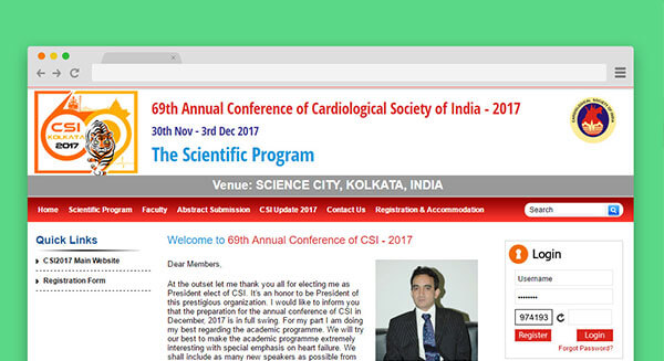 69th Annual Conference of Cardiological Society of India - 2017, The Scientific Program Website goes live